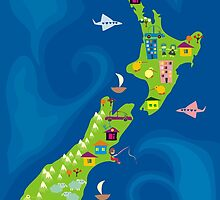 cartoon map of new zeland by Anastasiia Kucherenko