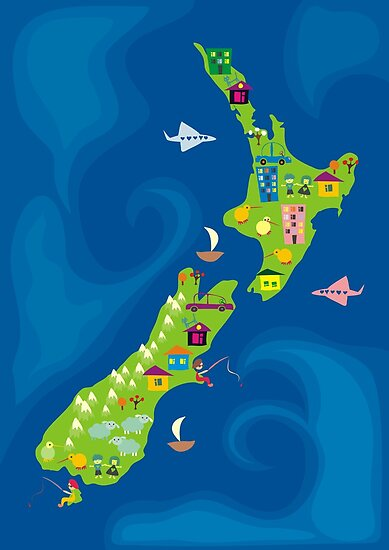 cartoon map of new zeland by Anastasiia Kucherenko