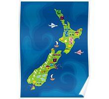 cartoon map of new zeland Poster