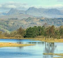 The Langdale Pikes from Wise Een Tarn by Jamie  Green