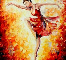 FLAMING DANCE - Original Art Oil Painting By Leonid Afremov by Leonid  Afremov