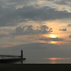 Lake Michigan Lighthouse Sunset by leftwinger7
