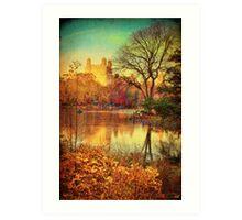 Central Park, A Vintage Fall Fantasy Art Print