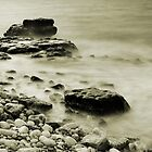 Peaceful monochromatic seascape beach stones by Francesco Malpensi