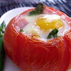 Baked Eggs, Ham &amp; Asparagus in Tomato Cups by Kimberly Morales