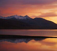 Pink Night, Sunsetting over Loch Etive, Scotland by KerryElaine