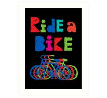 Ride a Bike - sketchy - black Art Print