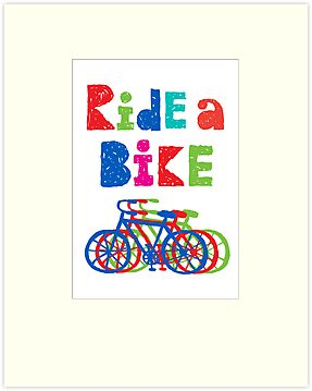 Ride a bike - sketchy - white by Andi Bird