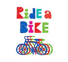 Ride a bike - sketchy - white Photographic Print