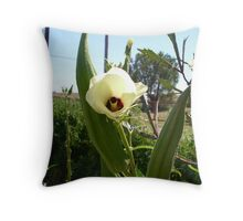 Green Okra in Bloom Throw Pillow