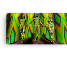 Two  Yellow Fractal Outfits To The Left Canvas Print
