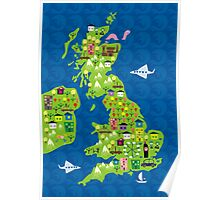 cartoon map of the UK Poster