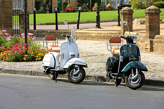 Black and White Scooters by Chris L Smith