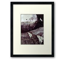 cows jump over the moon Framed Print
