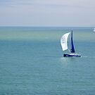 Yachts Sailing in Ventnor Bay by Rod Johnson