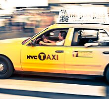 NYC Taxi crossing by Pierre Bourgault