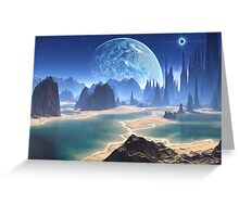 Planet-rise over Alien Beach World Greeting Card
