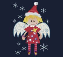 Angel with Santa hat by walstraasart