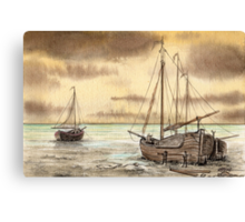 VLAARDINGEN HOLLAND ABOUT 1875 - NUMBER 2 - AQUAREL Canvas Print