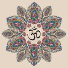 Om (Aum) Symbol in Block Print Paisley Mandala by shantitees