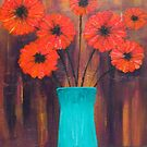 Flowers in Turquoise Vase by BenPotter