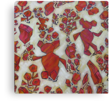 Pattern of suitcase, flowers and Ted having fun Canvas Print