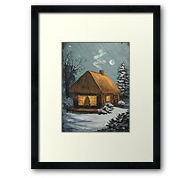 Winter Cottage Framed Print