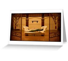 Peacock in a Gated Grand Salon. Greeting Card