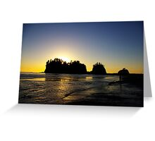 sun setting behind james island, washington, usa Greeting Card
