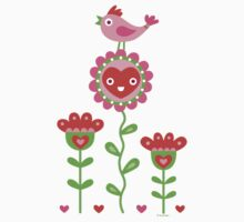 Happy - flowers bird hearts T-Shirt