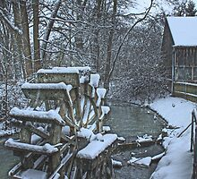 Snow on the millwheel by Luisa Fumi