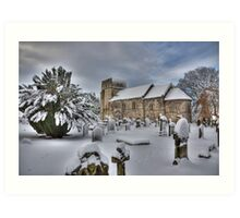 St Cuthbert's in the snow Art Print