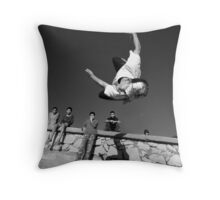 Essaouira free styling - Moroccan teenager guy jumping at the beach Throw Pillow