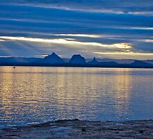 Sunset reflections - Glasshouse Mountains by Kim Austin