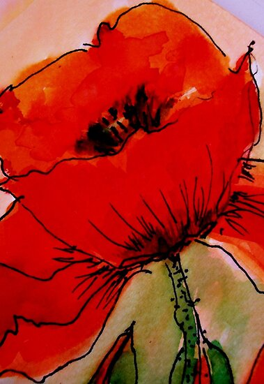Large Red Poppy by Angela Gannicott