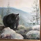 Black Bear - Story of One that Lost it's Life  - oil painting by JeffeeArt4u