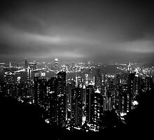 Panoramic View of Hong Kong at nigth by Matej Kastelic