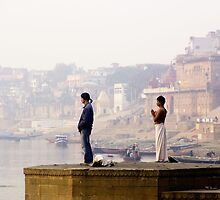 India: A Day in the Life of Varanasi #3 - Looking East  along the banks of the River Ganges by Neville Bulsara