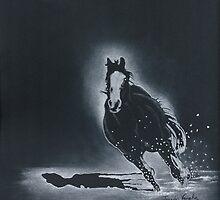 Winter Run-Quarter Horse Running in Snow by Jennifer  Vaughn