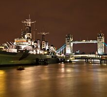 HMS Belfast and Tower Bridge by Shaun Whiteman