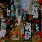Orange and Blue Painting Diptych by Christine Clarke