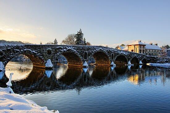 Evening sun shines through the arches of Graiguenamanagh bridge, County Kilkenny, Ireland by Andrew Jones