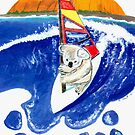 The Spirit of Australia - Koala Bear Windsurfing Painting by Rick Short