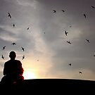 The Swallows and the Monk. by Gwoeii