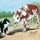 Cowdog Greeting Card by Barbara Applegate