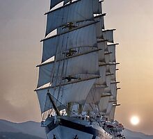 Royal Clipper (at dusk)  by Nancy Richard