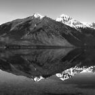 Mirror Reflection in Lake McDonald ~ Black &amp; White by Lucinda Walter