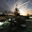 Sunrise over Chelsworth water meadows by Christopher Cullen