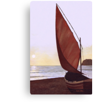 Red Sail in the Sunset Canvas Print