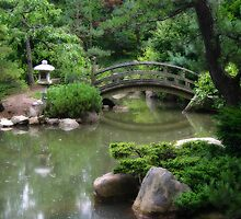 Koi pond with asian wooden bridge by Ken Reardon